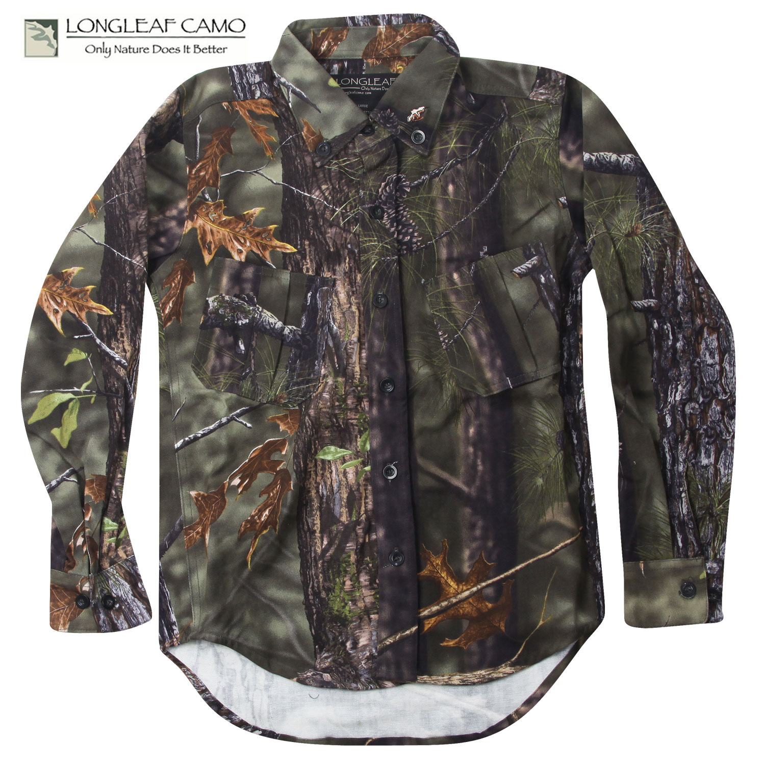 Longleaf Camo Button-Up YOUTH Shirt (L)- AT Green thumbnail