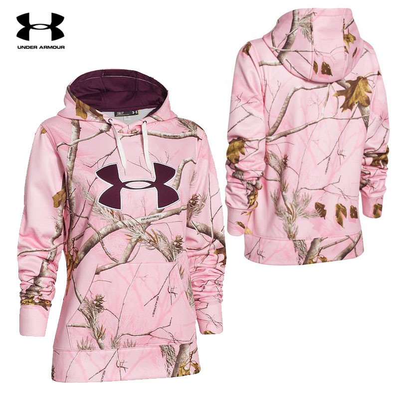 Under Armour WMNS Camo Big Logo Hoodie (S)- RTAP Pink/Ox Blood/Ivory